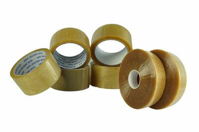 Verpakkingstape breedte 50 mm x lengte rol 66 meter. PP 28/46 lijm- en totale dikte, acryl lijm